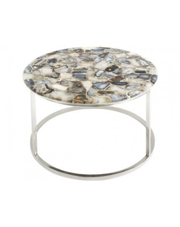 Libra Agate Round Coffee Table On Nickle Frame